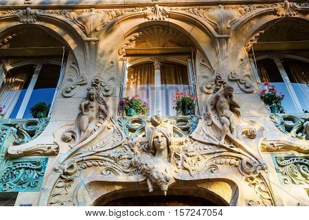 Detail Of An Art Nouveau Building In Paris