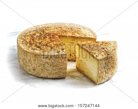 Artisan farmers cheese isolated on white background