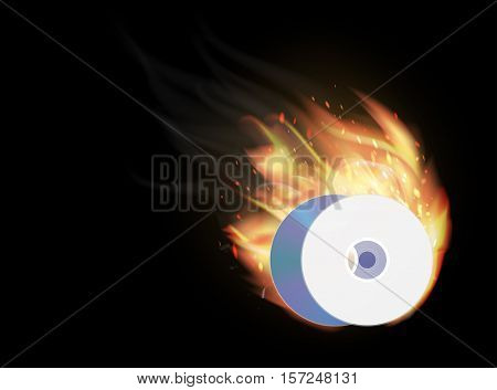 a cd dvd disk burning on a black background