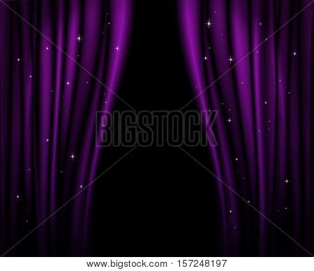 Purple curtains on theater or cinema stage