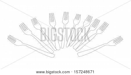 Forks Vector Sketch drawn a lot of ten on a white background