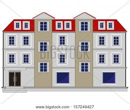 Big house with several floors on white background