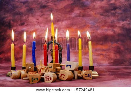 Jewish Holiday Hanukkah With Menorah Over Wooden Table