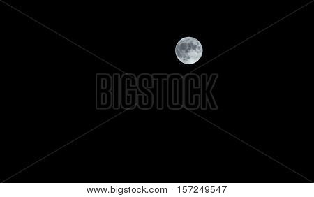 Close Up Of Full Moon On Dark Sky Background