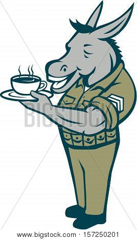 Illustration of a donkey army sergeant smiling standing holding cup and saucer drinking coffee viewed from the side set inside circle with stars done in cartoon style.