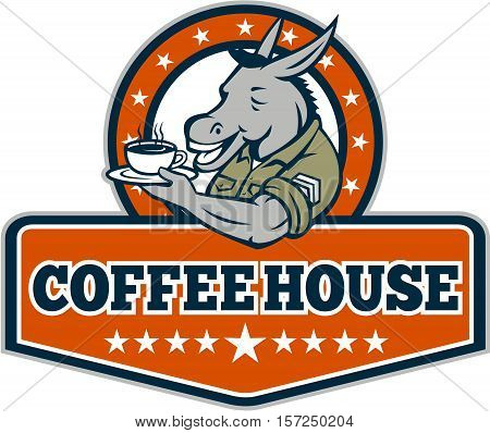 Illustration of a donkey army sergeant smiling holding cup and saucer drinking coffee viewed from the side set inside circle with stars and the word text Coffee House inside shield crest done in cartoon style.