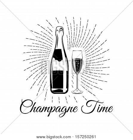 Champagne bottle with glass. Champagne Time. Celebration Vector Illustration