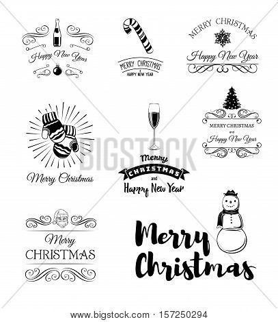 Christmas Labels and Badges Vector Design. Mittens, Champagne Glass. Snowman, X-mas Tree. Candy Cane. Typographic Merry Christmas and Happy Holidays wishes.