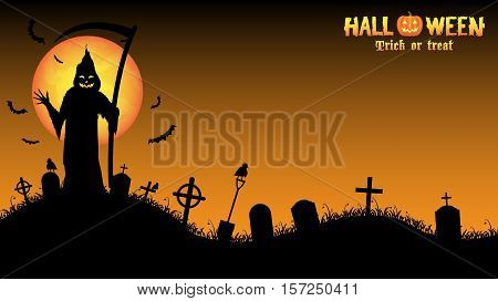 a grim reaper with halloween background vector