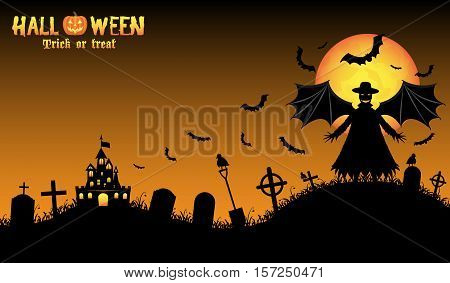 a vampire monster with halloween background vector
