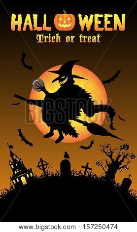 a silhouette horror witch with halloween background