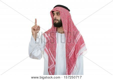 Arab saudi emirates man pointing you at camera isolated on a white background.