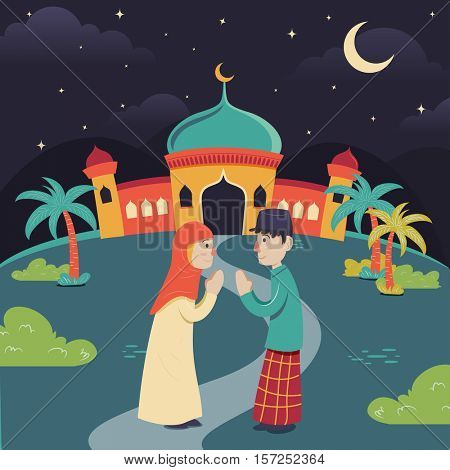 Lebaran, idul fitri illustration