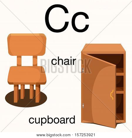 Illustrator of c vocabulary with chair and cupboard