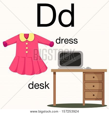 Illustrator of d vocabulary with dress and desk