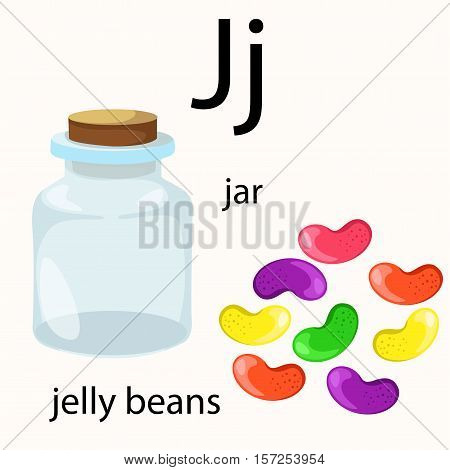 Illustrator of j vocabulary with jar and jelly beans