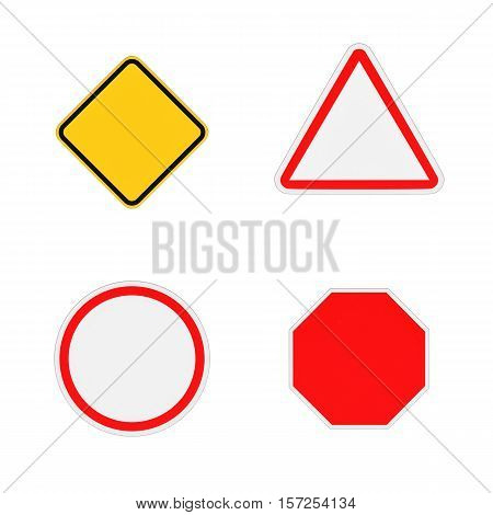 3d rendering of four close-up blank road signs isolated on the white background. Road safety. Traffic regulations. Warning signs and symbols. Information for drivers and pedestrians.
