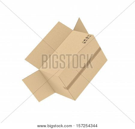 3d rendering of an open light beige cardboard mail box held together with tape isolated on a white background, three quarters view. Postal services. Packing and crating. Storage of different products.