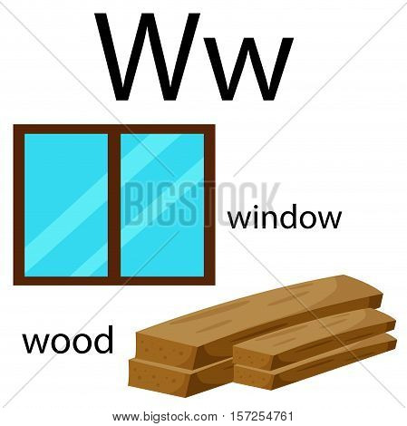 Illustrator of w vocabulary with window and wood