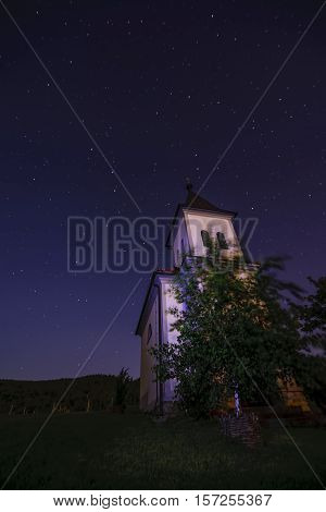 Church In Clear, Starry Night With Ursa Maior - Big Bear And Polaris - North Star