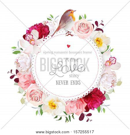 Elegant floral vector round card with white and burgundy red peony rose orchid carnation flowers mixed leaves and plants and cute small robin bird. All elements are isolated and editable.