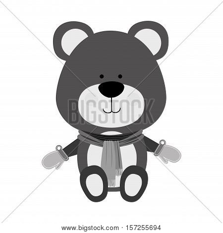 teddy bear wearing winter accesories merry christmas icon image vector illustration design