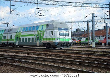 KOUVOLA, FINLAND - AUG 20, 2016: Head coach two-storey modern diesel passenger trains at the railway station of Kouvola