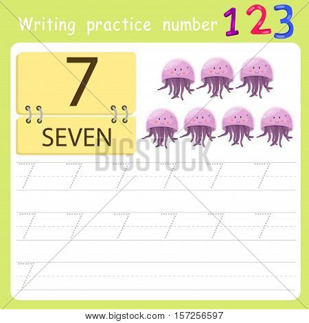 worksheet Writing practice number seven for education