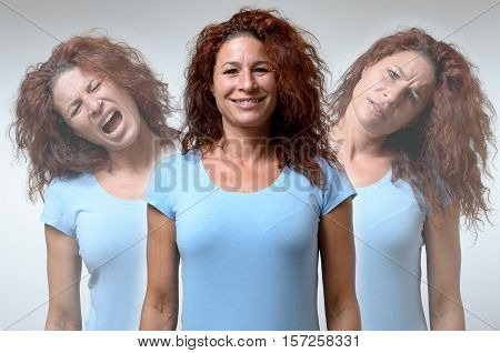Front view on three versions of woman changing from moods of anger joy and confusion