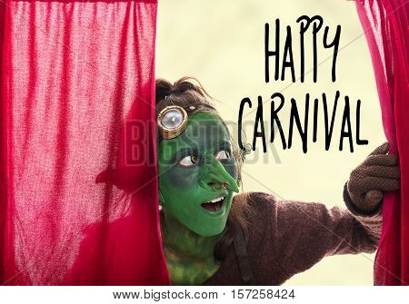 Green Goblin Behind A Red Grand Drape, Text Happy Carnival