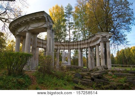 SAINT PETERSBURG, RUSSIA - OCTOBER 06, 2015: View of Apollo's colonnade on the October evening. Pavlovsk palace Park. The historical landmark
