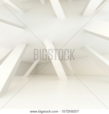 3d illustration. White modern interior of non-existent room with inclined supporting columns of different directions and ceiling turned inside. Impossible illusory space. Render. Concept for poster.
