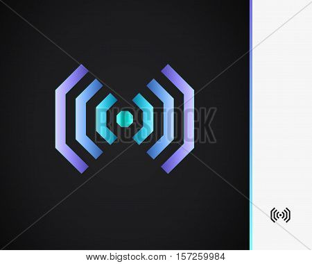 Technology Business Abstract Logo Design Template. Emblem from Blue Lines. Colored Striped Logotype. Creative Concept Icon.