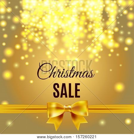 Christmas And New Year Sale Gold Sparcke Background.