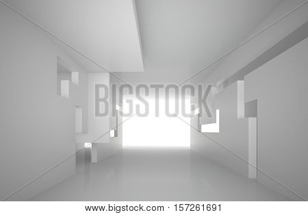 3d illustration. White interior of a non-existent building. The walls of the room with rectangular holes multilevel ceiling. Light in perspective. Architectural minimal background render.