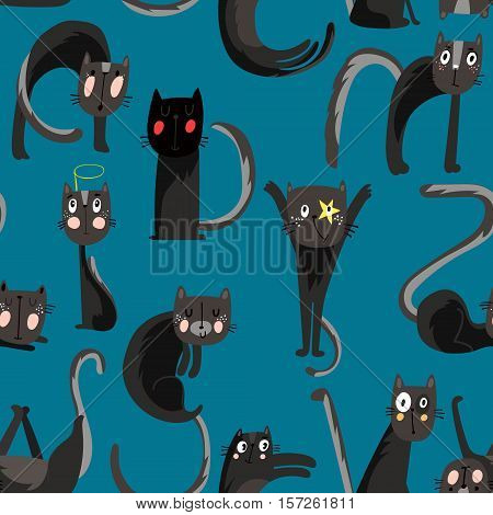 Seamless Pattern With Cartoon Cats - Stock Vector