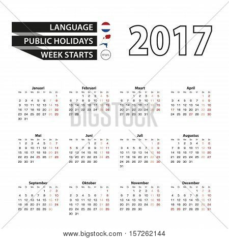 Calendar 2017 on Dutch language. With Public Holidays for Netherlands in year 2017. Week starts from Monday. Simple Calendar. Vector Illustration.