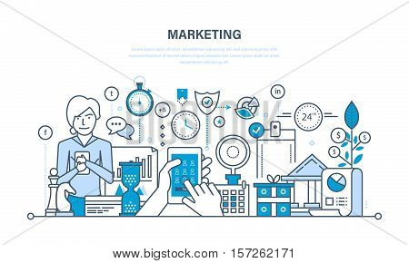 Marketing and market research, management and control strategy, statistics and reporting, finance, investments, time management. Illustration thin line design of vector doodles, infographics elements.