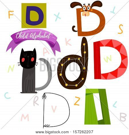 Bright Alphabet Set In Vector.d Letter-stylish 6 Hand Drawn Letters In Different Designs.cartoon Abs