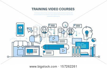Education and learning technologies, remote online video courses, communications, training programs, courses and lectures. Illustration thin line design of vector doodles, infographics elements.