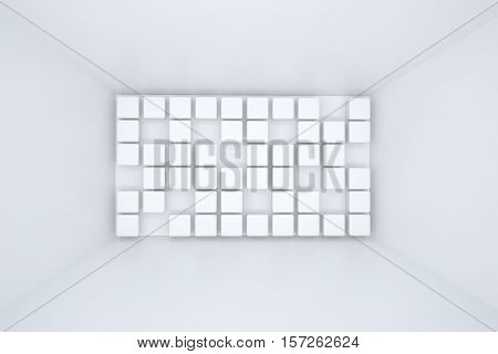 3d illustration. White interior of not existing building with square extruded wall elements in perspective. Symmetry view. Render. Place for text.