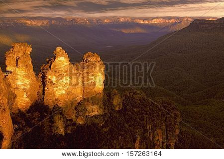 Three Sisters in the Blue Mountains of NSW Australia
