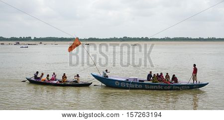 Tourist Boats On The Sacred Ganges River In Varanasi