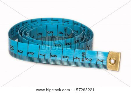 A measuring tape. Tailor aid in sewing clothes.