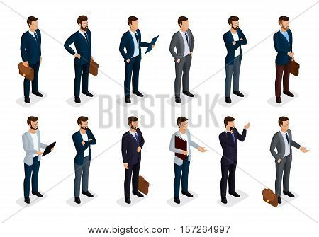 Business people isometric set of men in suits isolated on a white background, beard styling stylish hairstyle mustache office. Qualitative study. Vector illustration.