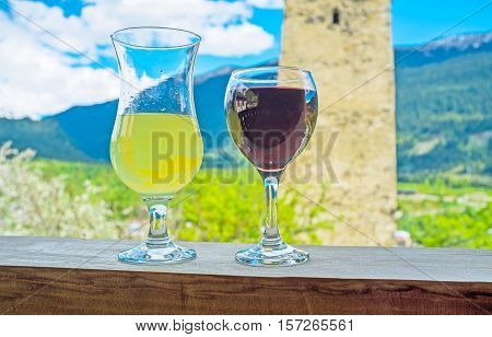 Georgia is famous for its cuisine wines and lemonades Mestia is the fine place to taste it enjoy the glass of wine in local cafe Upper Svaneti.