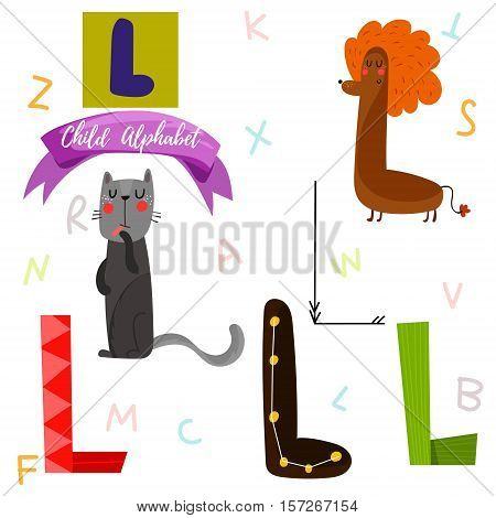 Bright Alphabet Set In Vector.l Letter-stylish 6 Hand Drawn Letters In Different Designs.cartoon Abs