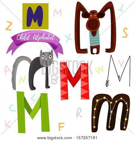 Bright Alphabet Set In Vector.m Letter-stylish 6 Hand Drawn Letters In Different Designs.cartoon Abs