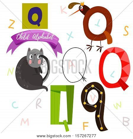 Bright Alphabet Set In Vector.q Letter-stylish 6 Hand Drawn Letters In Different Designs.cartoon Abs