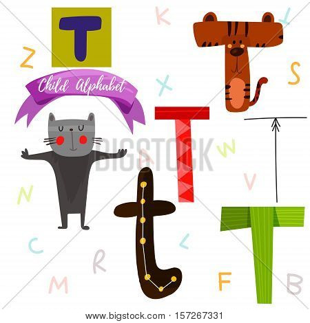 Bright Alphabet Set In Vector.t Letter-stylish 6 Hand Drawn Letters In Different Designs.cartoon Abs